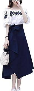 Vestido de verano para mujer, falda francesa, estilo retro, a la rodilla, falda de moda para mujer, bordado de dos piezas
