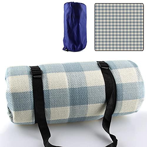 Esportic Picknickdecke,200 x 200 cm große Stranddecke,Campingdecke, wasserdichte Unterseite, Maschinenwaschbar,Campingdecke Outdoor Faltbare Picknick Decke Weich Tragbar (Blaues Gitter)