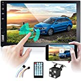 Double Din Car Stereo Carplay Car Radio Bluetooth, ZIJIN 7 Inch Android HD 1080P Touchscreen Display GPS MP5 Player Universal Multimedia With Mirror Link USB Port, Aux Input, AM, FM + Rearview Camera
