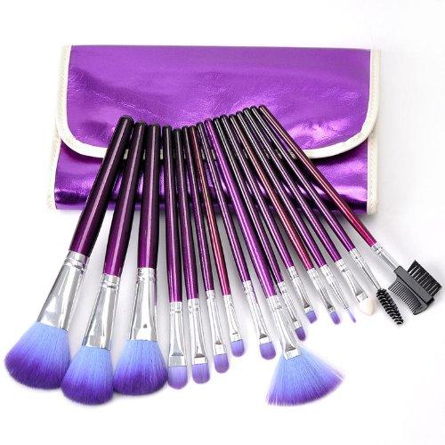 Housweety 1 Set Pinceaux Maquillage Brosse Cosmetique 16 Pièces Violet 23cmx11cm J00214