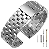22mm Watch Band For Men Brushed Stainless Steel Watch Bracelet 5 Rows Engineer Wristband Heavy Double Lock Clasp Watch Belt Solid Metal Silver Strap