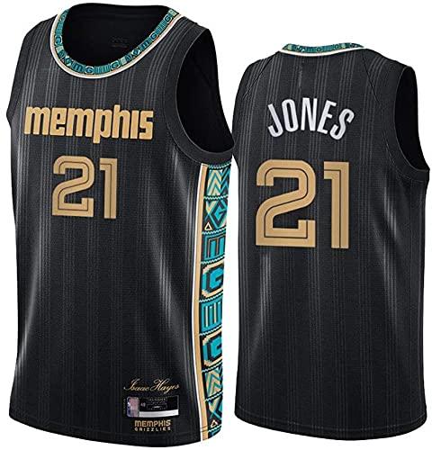 XUECHEN Ropa Uniformes de Baloncesto para Hombres, Memphis Grizzlies # 21 Tyus Jones NBA Transpirable y de Secado rápido Camisetas Casas Chalecas Casuales Jerseys de Baloncesto, Negro, L (175~180 cm)