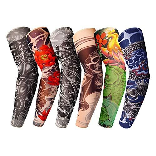 ZLDDE Manga del Brazo atlético 6PC Transpirable Protección UV Tatuaje 3D Manga del Brazo Manguitos Ciclismo Sun Cubiertas Protectoras rápida Verano seco Mangas de enfriamiento para Mujeres y Hombres,