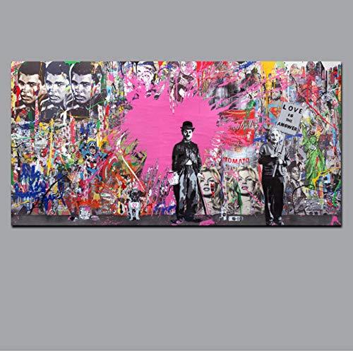 Suuyar Graffiti Pop Art Impresi/ón De Un Cartel Arte Urbano Arte Urbano En Lienzo Mano Pared Cuadros Para La Sala De Estar Decoraci/ón Para El Hogar Sin Marco 60X90 Cm