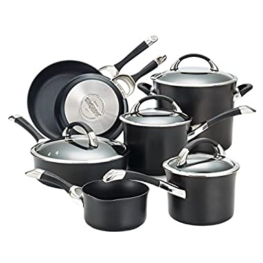 Circulon Symmetry Hard Anodized Nonstick 11-Piece Cookware Set, Black