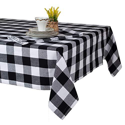 Asquare Karierte Tischdecke, Baumwolltischdecke schwarz-weiß kariert, 130 x 220 cm, 220g/m²
