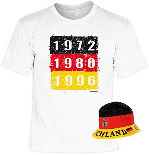 Veri 2-teiliges Fussball WM 2018 Fanartikel Set Fan T-Shirt Deutschland EM Fahne 1973 1980 1996 Trikot Weiss und Hut Fischerhut Sonnenhut Gr. 52-59 cm Gr. S : -