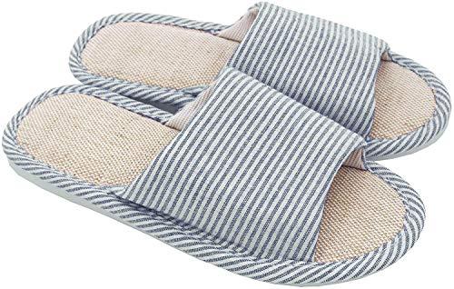 Zapatillas de Dedo del pie de Las Mujeres y de los Hombres Lino del algodón luz Suave Ocasional Zapatillas de casa cómodas y Respirables Antideslizante para Interiores y Exteriores (38/39 EU, Azul)