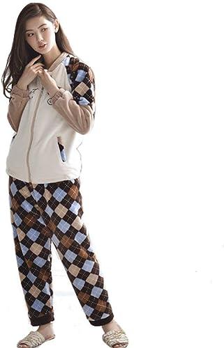 BIRAN Homme Set De Pyjama Hiver Manches Longues Warm à voiturereaux Pyjamas Confortables Mode Doux Désinvolte breal épaissir Coral Fleece Chemise De Nuit Pantalon Pyjama