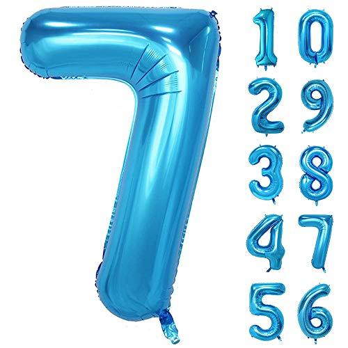 GRESAHOM Ballon Zahl in Blau, 40inch 100cm Riesen Folienballon Zahl 7 Luftballon Geburtstagsdeko
