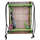 Fevthmii Drawstring Backpacks Bags,Meditation,Spa Frame with Spiritual Stones Bamboo Stems Orchid Petals Yoga Zen Philosophy,Multicolor Soft Satin,5 Liter Capacity,Adjustable String Closure