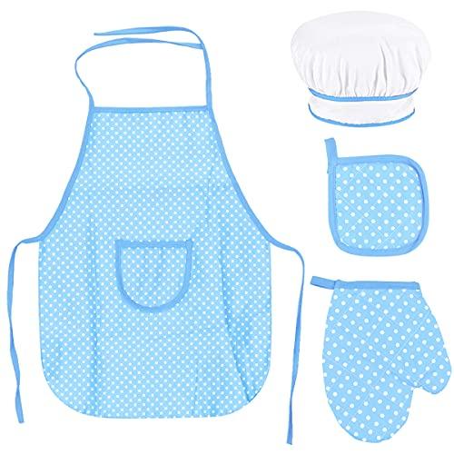Fodlon Set Chef per Bambini, Regolabile Bambini Grembiule Cucina con Cappello Cuoco per Bambini, Guanto da Cucina per Bambini, Tappetino Resistente al alore per di 3-8 Anni (Blu)