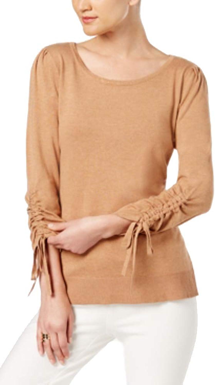 Alfani Women's Ruched Sleeve Scoop Neck Sweater