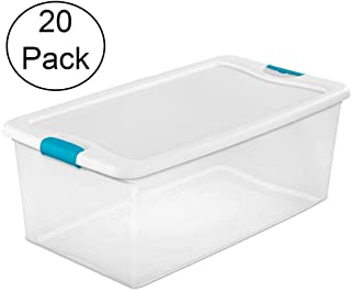 STERILITE 106 Qt Clear & Blue Stackable Latching Storage Box Container (20 Pack)