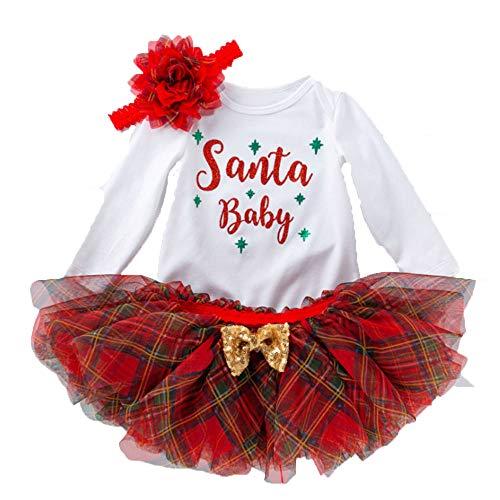 BAINA Bebé Niña Navidad Vestido 3PCS Set Manga Larga Fiesta Vestido Tutu con Bowknot Diadema Vestido de Navidad para bebé y niña 0-18 Meses