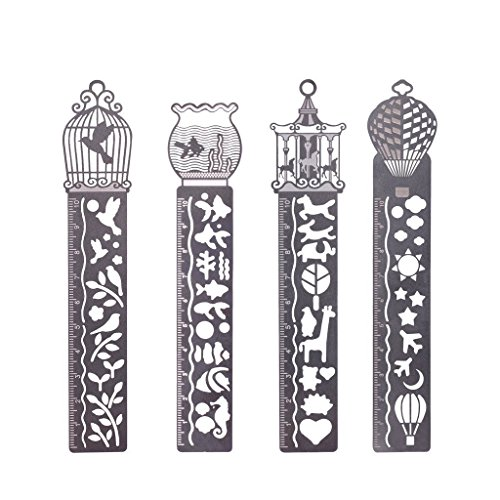 FunRun Set de 4 marcapáginas de metal con plantillas de dibujo y Regla, para Escuela, Oficina, scrapbooking, para libro manualidades, proyecto de la escuela y lectura
