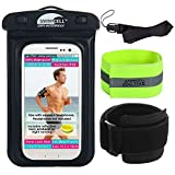 SwimCell Waterproof Phone Case Armband And Headphone Jack For Walking, Running and Swimming Fits all phones 17cm x 10.5cm - iPhone 6, 7, 8, Plus Samsung. BONUS reflective neon armband. Neck lanyard