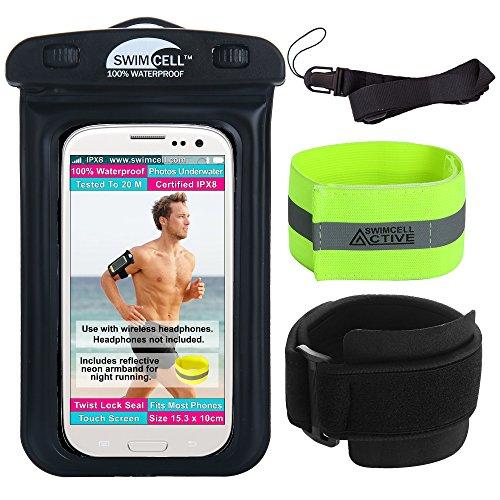 SwimCell waterdichte hoes voor alle smartphones. iPhone 6, 7, 8, Samsung, camera, geld, sleuteltas. Getest tot 10 m om onder water te zwemmen. Gecertificeerd IPX8. 10 cm x 14,5 cm, tot een 6 inch beeldscherm.
