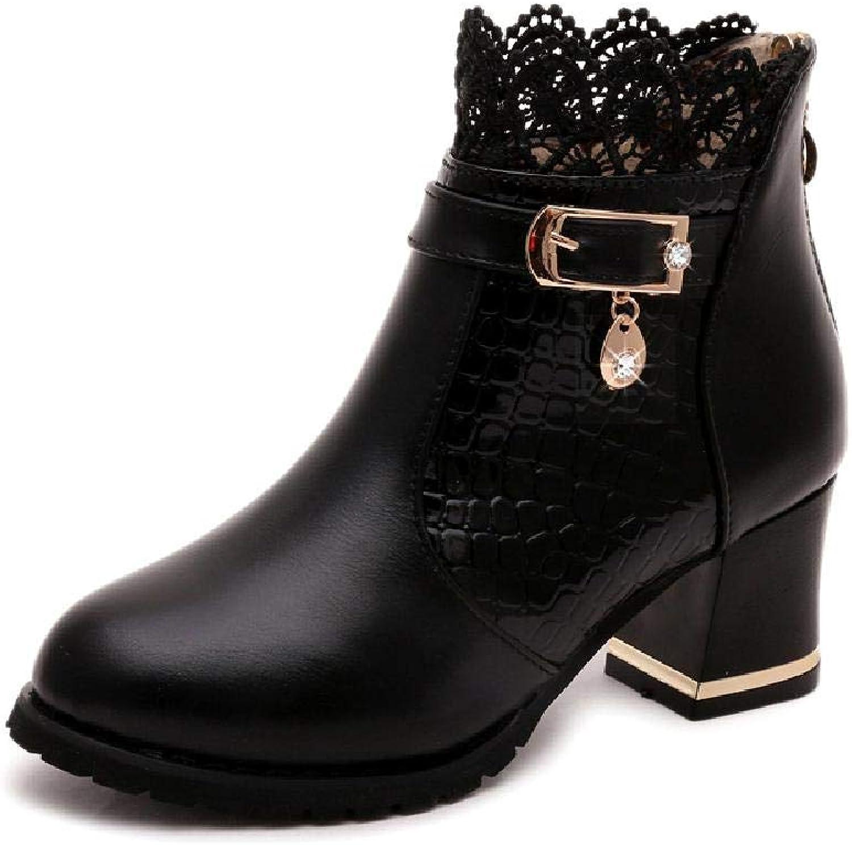 MZjJPN Metal Buckle Zip Plaid Lace Chunky Heel Ankle Boots Women's Comfortable Black Brand Autumn shoes