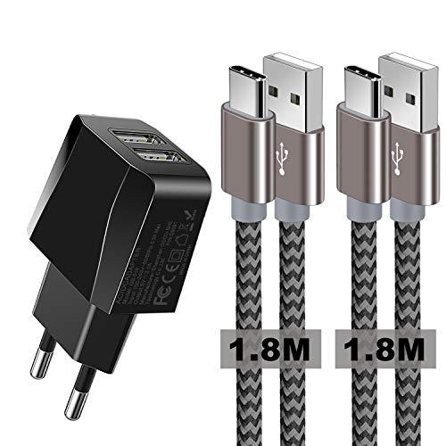 Zeuste Cargador Móvil con 2 Puertos USB Compatible con la mayoría de Dispositivos móviles,2-Pack 1.8M Cable USB Tipo C(Gris) para Samsung Galaxy S9 S8+ Nota 8,Sony Xperi,Huawei P9
