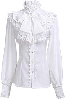 Nuoqi Women Lolita Lace Stand-Up Collar Lotus Ruffle Shirt Retro Victorian Blouse