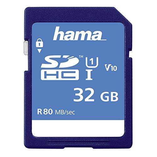Hama Speicherkarte SDHC 32GB (SD-3.01-Standard, 80 MB/s, Class 10,  Datensicherheit dank mechanischem Schreibschutz, Beschriftungsfeld)