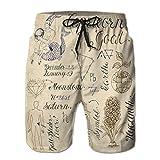 Xunulyn Men Drawstring Elastic Waist Trunks Beach Shorts Set símbolos Signo del Zodiaco Capricornio Cabra colección Dibujado a Mano línea astrológica Arte Grabado
