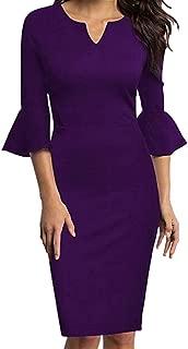 Sherostore ♡ Womens Ruffle Bell Sleeve Work Business Cocktail Party Sheath Dress Office Bodycon Dress