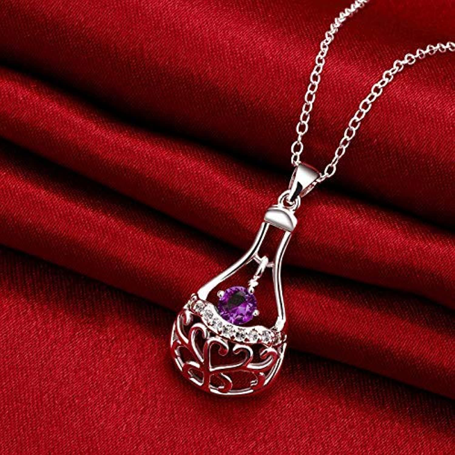 Rhinestone Necklace Home Exquisite Ladies Necklace Fashion Cutout 925 Zircon Jewelry (color   Purple) by Enking