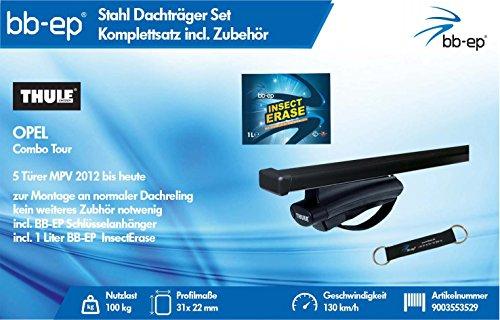 BB-EP - Thule 9003553529 Komplett-Set - Premium Stahl Dachträger/Lastenträger für OPEL Combo Tour 5 Türer MPV 2012 bis Heute - Komplettset - Inklusive Schlüsselband und 1 Liter Insect Erase