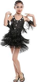 ドレスプリンセスコスチューム フリンジ付きダンスコスチュームスパンコールトップラテンダンススカート 肌にやさしい通気性 (色 : ブラック, サイズ : 170cm)