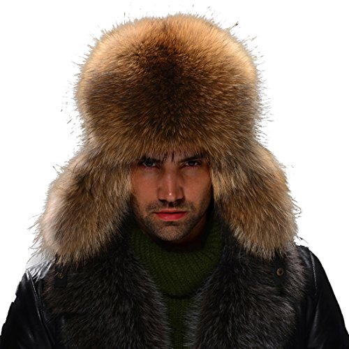 URSFUR Silver Fox Fur & Leather Russian Ushanka Hat (One Size, Raccoon Natural Color)