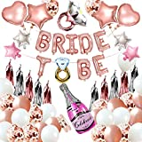 JGA Deko Set de decoración para despedida soltera con globos látex en oro rosa, confeti, novia to be Banner, color guirnalda borlas hija, soltera, fiesta compromiso