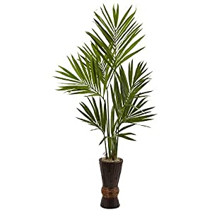 Nearly Natural 6' Kentia Tree with Bamboo Planter Artificial Plant, 6′, Green