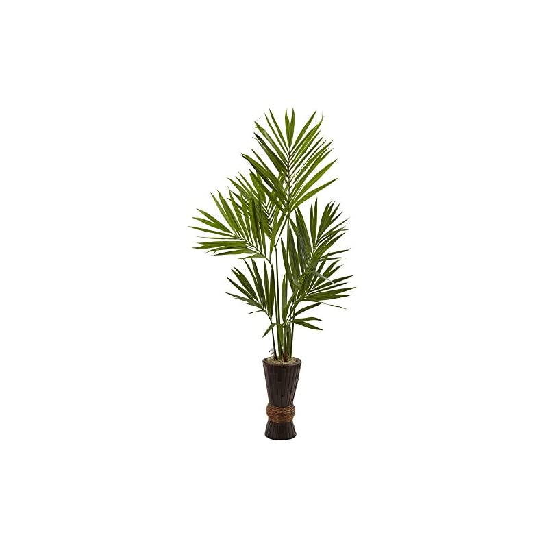 silk flower arrangements nearly natural 6' kentia tree with bamboo planter artificial plant, 6', green