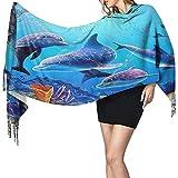 Bufanda Acuario Delfín Peces y algas Marinas Bufanda de cuello azul Bufanda de mufla larga ultra suave suave Bufandas de chal de secado rápido