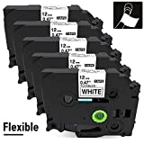 AKEN Compatible Label Tape Replacement for Brother P-Touch Flexible Cable ID Laminated Label Tape TZe-FX231 Work for Brother P-Touch Label Maker PT-E500 PT-E550W 12mm 0.47' x 26.2' Black on white 5 Pk