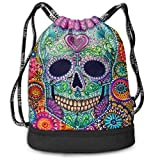 LULABE Swiming Travel Gym Beam Backpack Multi Color Flower Sugar Skull Beam Backpack Basketball, Volleyball, Baseball Tote Cinch Sack For Boys Teens Youth