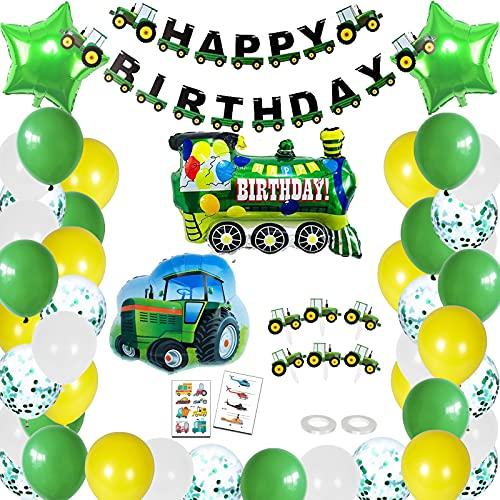 BOYATONG Decorazione di Compleanno per Bambini, Decorazione di Compleanno per Trattore, Striscione di Buon Compleanno...