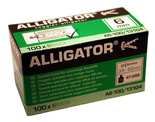 100 TOGGLER Alligator Spezial-Dübel A6 für massive Wände