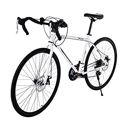 26 inch Road Bike for Women Men with Aluminum Frame,21 Speed Disc Brakes Full Suspension City Commuter Road Bicycle (White)