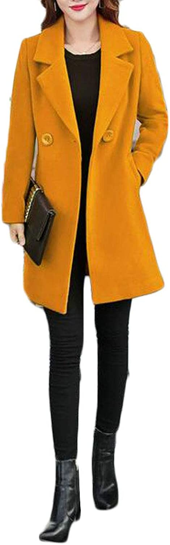 Pivaconis Womens Wool Blend Outwear Warm Slim Classical Overcoat MidLong Peacoats