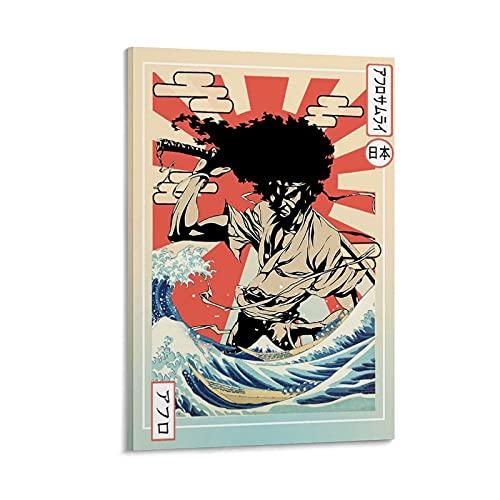 NEGD Cuadro de lienzo de estilo japonés Samurai, póster y arte de pared moderno para decoración de dormitorio familiar de 50 x 75 cm