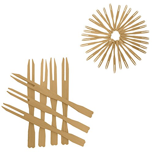 100 Mini Wooden Cocktail Fork Sticks, 3.5 Inch Bamboo Skewers.Splinter-Free Toothpicks.Includes 100 Bamboo Two Prong Sharp Fork Sticks. Perfect For Parties, Buffets, Food Tastings And Much More.