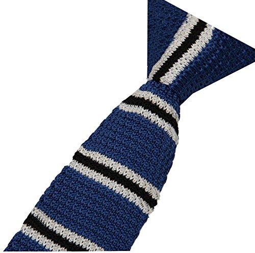 S.R HOME Cravate mince pour homme Rayure Bleue Noire bout carré de 6 cm