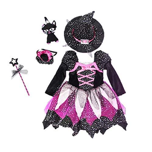 MICHAELA BLAKE Bruja de Halloween los niños de las muchachas del vestido de lujo traje con sombrero de 90cm HalloweenFairytale traje del corsé del vestido de partido