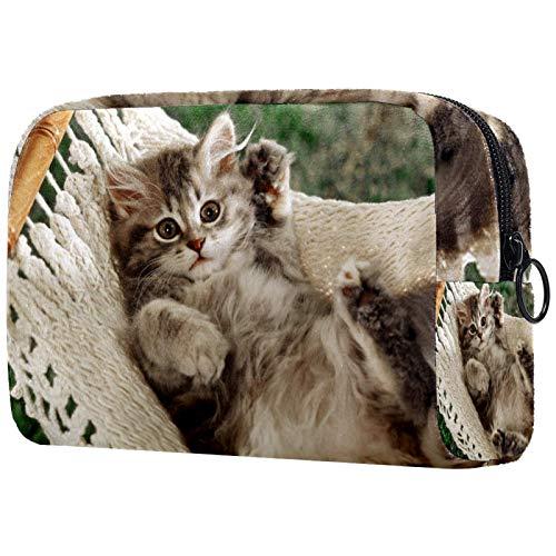 Kleine Make-up Tasche Die Katzenhängematte für Geldbeutel Reise Make-up Pouch Kosmetiktasche für Frauen Mädchen 18.5x7.5x13cm