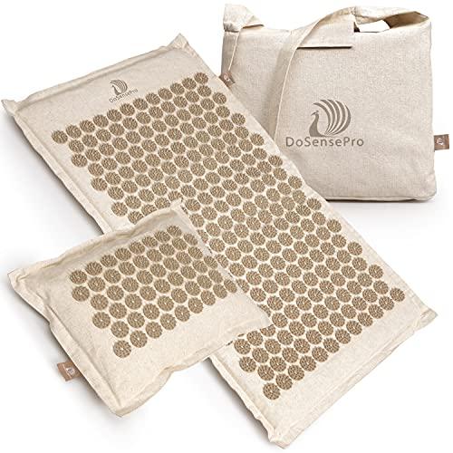 Extra Long Acupressure Mat and Pillow Massage Set - by DoSensePro + Gel Pack. (Natural Linen)