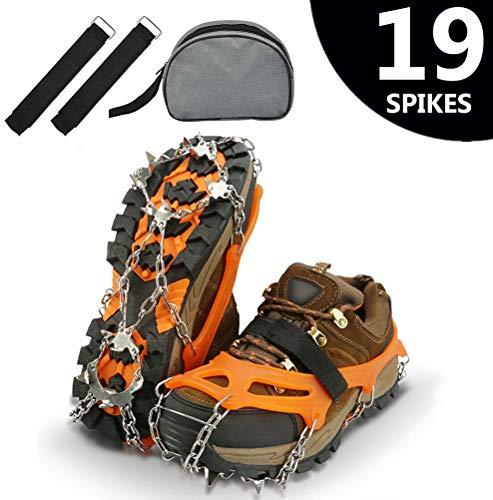 BUYGOO Edelstahl Steigeisen Schneekette für Stiefel - Schuhkrallen mit 19 Edelstahl Zähne Spikes Anti-Rutsch Grödel für Winter Wandern Bergsteigen auf EIS Schnee Gletscher (Schuh EUR: 35-44)