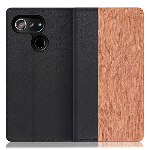LOOF Nature Android One S6 ケース 手帳型 カバー 本革 天然木 ベルト無し ウッド 木製 木 カード収納 カードポケット 本革 高級 スタンド機能 手帳型ケース スマホケース (花梨)